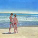 A Walk on the Beach, painting by Kurt Harris